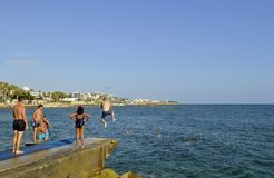 Paphos harbour in Cyprus stock image