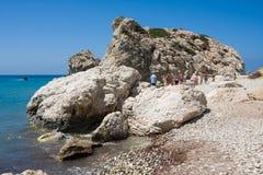 PAPHOS - JULY 17, 2017: Love beach. Aphrodite`s Rock Royalty Free Stock Photo
