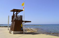 Paphos Lifeguard station. Lifeguard station on Paphos Beach in Cyprus stock photos