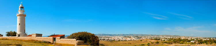 Paphos lighthouse. Panoramic photo Stock Photography