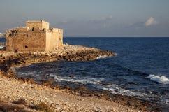 Paphos medeltida fort Paphos dragning royaltyfria foton