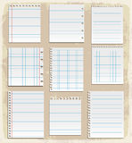 Papierów prześcieradła, prążkowany papier i nutowy papier, Zdjęcie Stock