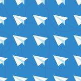 Papierów samoloty z Kołtuniastych linii Bezszwowym wzorem Wielostrzałowy abstrakcjonistyczny tło z papierów samolotami i ciskać k Obraz Royalty Free