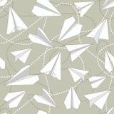 Papierów samoloty z Kołtuniastych linii Bezszwowym wzorem Wielostrzałowy abstrakcjonistyczny tło z papierów samolotami i ciskać k Zdjęcia Stock