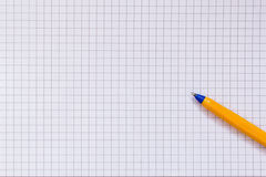 Papier à carreaux et stylo Photo stock