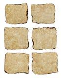 Papier âgé naturellement brûlé de la texture six Photos libres de droits