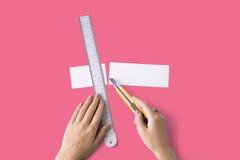 Papier Art Color Design Creative Concept de règle de coupeur photo libre de droits