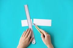 Papier Art Color Design Creative Concept de règle de coupeur photos stock