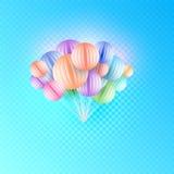 Papier Art Colorful Bunch d'origami des ballons d'anniversaire volant pour la partie et les célébrations d'isolement dans à carre Photographie stock