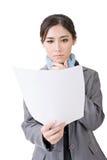 Papier asiatique de document de fichier de recopie de femme d'affaires photo libre de droits