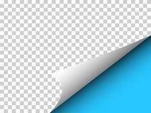 Papier avec le coin bouclé et ombre sur le transparent - dirigez l'illu Image libre de droits