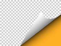 Papier avec le coin bouclé et ombre sur le transparent - dirigez l'illu Photographie stock libre de droits