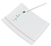 Papier avec le crayon lecteur Photographie stock