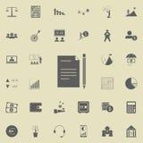papier avec une icône de crayon Ensemble détaillé d'icônes de finances Signe de la meilleure qualité de conception graphique de q Images libres de droits