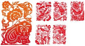 Papier-besnoeiing reeks zeven stock illustratie