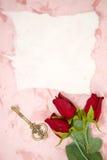 Papier blanc avec la rose de rouge images libres de droits