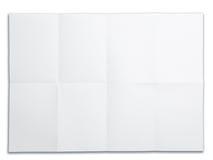 Papier blanc avec le repère de pli. d'isolement sur le blanc. Photographie stock libre de droits