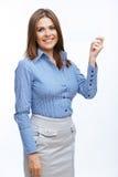 Papier blanc blanc de prise de femme d'affaires Photos stock