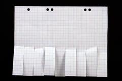Papier blanc d'annonce avec des glissades de coupure Photographie stock