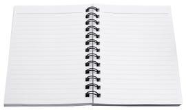 Papier blanc de carnet de notes à spirale Photo stock