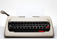 Papier blanc de machine à écrire Photographie stock