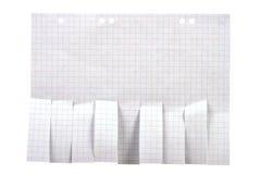 Papier blanc de publicité avec des glissades de coupure Photographie stock