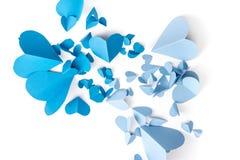 Papier bleu de coeur Photos stock
