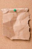 papier bloqué par liège de panneau Image libre de droits