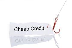 Papier bon marché de crédit emprisonné dans l'hameçon Photos stock