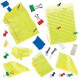 Papier, cartes de note et approvisionnements jaunes Photographie stock