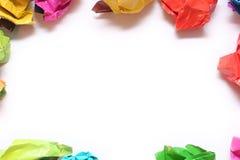 Papier chiffonné de couleur plié dans une rangée Photographie stock