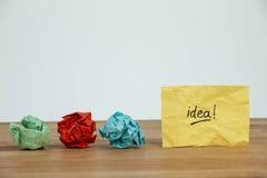 Papier chiffonné et idée écrits sur le papier Photo stock