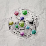 Papier chiffonné par couleurs Image stock