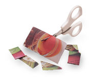 Papier coloré coupé par ciseaux blancs de bébé Image libre de droits
