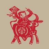 Papier-coupe chinoise de boeuf de ressort Photographie stock libre de droits