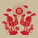 Papier-coupe propice de coq chinois Photos libres de droits
