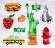 Papier crumled par symboles de New York Photographie stock libre de droits