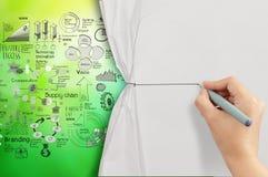 Papier crupled ouvert de corde de dessin de main image libre de droits