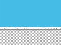 Papier déchiré par bleu sur le fond de transparent Image stock