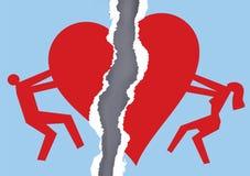Papier déchiré par couples divorcé avec le symbole de coeur Photos libres de droits