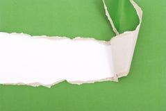 Papier déchiré par vert photographie stock