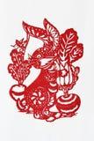 Papier-découpage chinois de zodiaque (lapin) images libres de droits