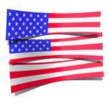 Papier 3d de drapeau des Etats-Unis réaliste sur le fond blanc Photos libres de droits