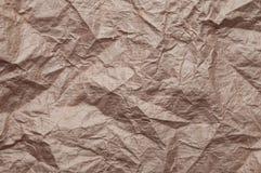 Papier d'emballage chiffonn? La texture a chiffonn? le vieux papier brun r?utilis? photographie stock libre de droits