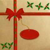 Papier d'emballage de Brown avec une bande rouge illustration stock