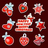 Papier d'emballage de conception d'échantillon avec des attributs de la nouvelle année et du Noël Croquis de l'affiche, invitatio illustration de vecteur