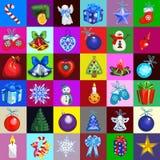 Papier d'emballage de conception d'échantillon avec des attributs de la nouvelle année et du Noël Croquis de l'affiche, invitatio illustration libre de droits