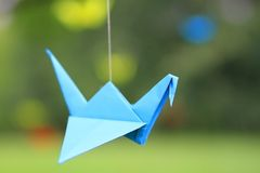 Papier d'origami de cigogne Photo stock