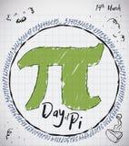 Papier de carnet avec les griffonnages, le tarte et le symbole de pi pour le jour de pi, illustration de vecteur illustration de vecteur