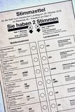 Papier de carte de vote pour l'élection d'état de Hesse en octobre 2018 image libre de droits